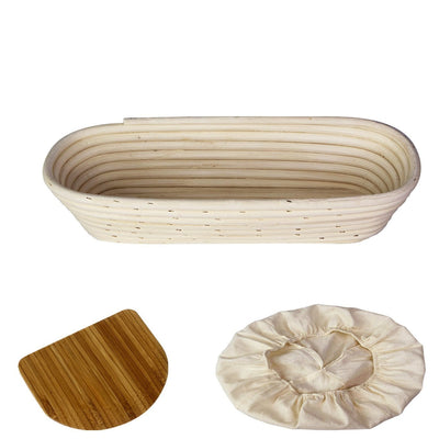 Made Terra Banneton Set of 1 14-inch Oval Banneton Bread Proofing Baskets | With Dough Scraper & Liner