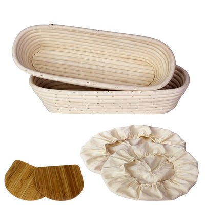 Made Terra Banneton Set of 2 14-inch Oval Banneton Bread Proofing Baskets | With Dough Scraper & Liner