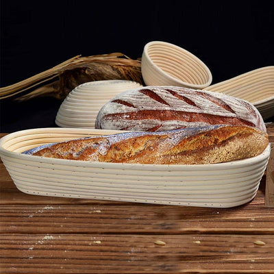 Made Terra Banneton 15-inch Oval Banneton Bread Proofing Baskets | With Dough Scraper and Liner