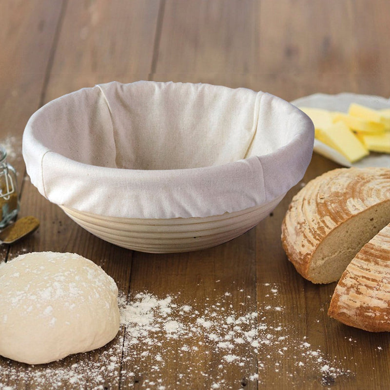 Made Terra Banneton 8-Inch Round Banneton Bread Proofing Baskets | With Dough Scraper & Liner