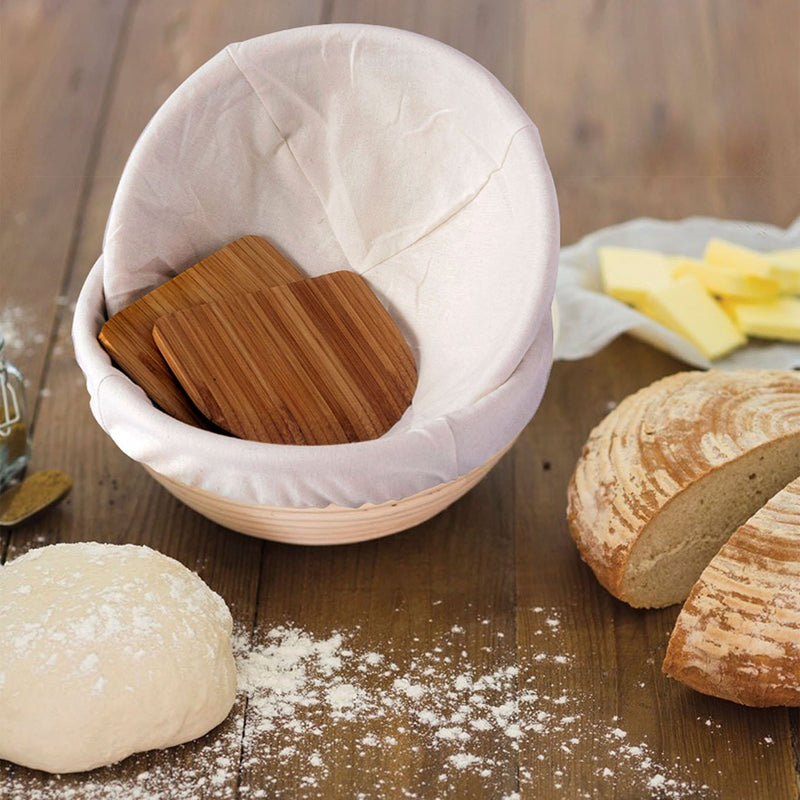 Made Terra Banneton 2 Pack 9-Inch Round Banneton Bread Proofing Baskets | With Scraper & Liner