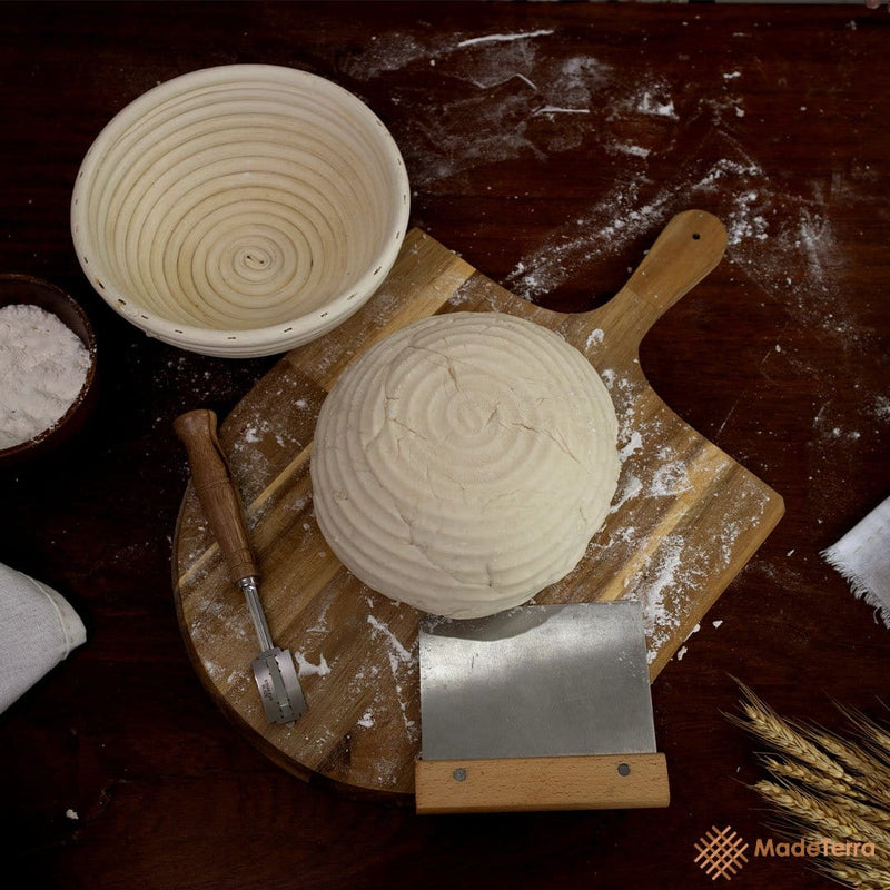 Made Terra Banneton 1 Pack 9-Inch Round Banneton Bread Proofing Baskets | With Scraper & Liner