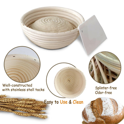 Made Terra Banneton 9-Inch Round Banneton Bread Proofing Baskets | With Scraper & Liner