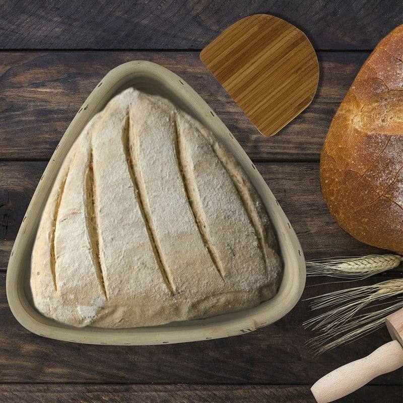 Made Terra Banneton Set of 1 9-Inch Triangle Banneton Bread Proofing Baskets | With Dough Scraper & Liner