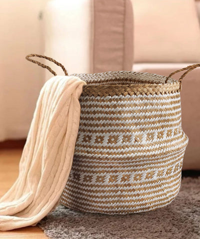 Made Terra Belly Baskets Belly Basket with Handles | Woven Baskets for Laundry Storage & Home supplies (Large)