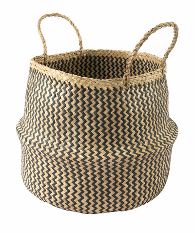 Made Terra Belly Baskets Black Zigzag Belly Basket with Handles | Woven Baskets for Laundry Storage & Home supplies (Large)