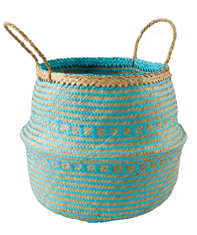 Made Terra Belly Baskets Cyan Brocade Belly Basket with Handles | Woven Baskets for Laundry Storage & Home supplies (Large)
