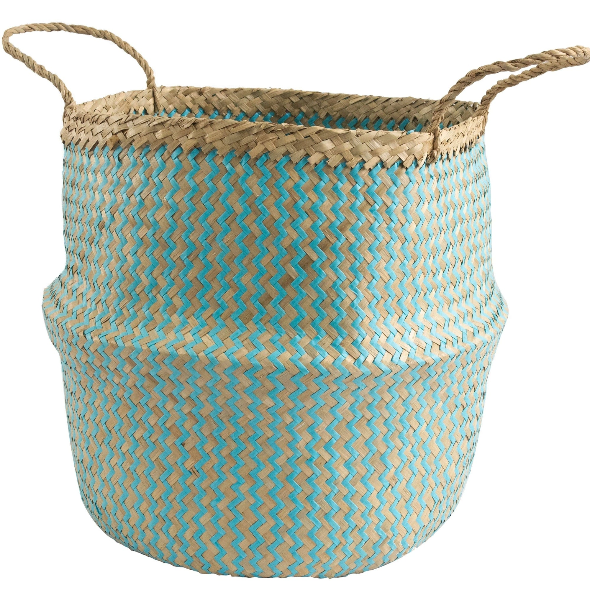 Made Terra Belly Baskets Cyan Zigzag Belly Basket with Handles | Woven Baskets for Laundry Storage & Home supplies (Large)