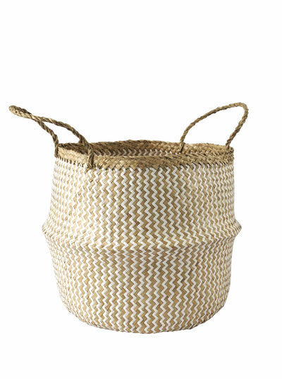 Made Terra Belly Baskets White Zigzag Belly Basket with Handles | Woven Baskets for Laundry Storage & Home supplies (Large)