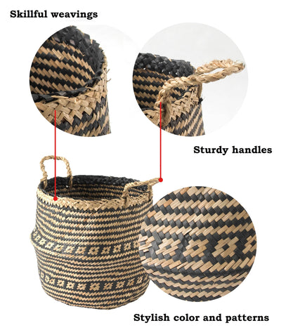 Made Terra Belly Baskets Belly Basket with Handles | Woven Baskets for Laundry Storage & Home Supplies (Small)