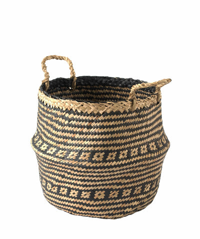 Made Terra Belly Baskets Black Brocade Belly Basket with Handles | Woven Baskets for Laundry Storage & Home Supplies (Small)
