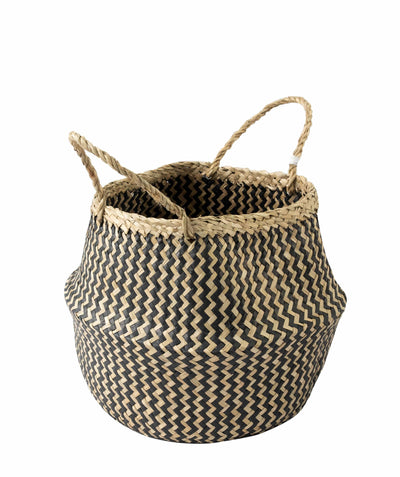 Made Terra Belly Baskets Black Zigzag Belly Basket with Handles | Woven Baskets for Laundry Storage & Home Supplies (Small)