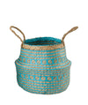 Made Terra Belly Baskets Cyan Brocade Belly Basket with Handles | Woven Baskets for Laundry Storage & Home Supplies (Small)