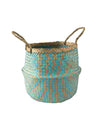 Made Terra Belly Baskets Cyan Zigzag Belly Basket with Handles | Woven Baskets for Laundry Storage & Home Supplies (Small)