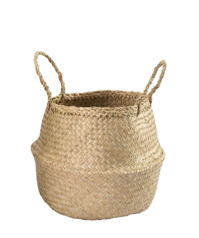 Made Terra Belly Baskets Natural Belly Basket with Handles | Woven Baskets for Laundry Storage & Home Supplies (Small)