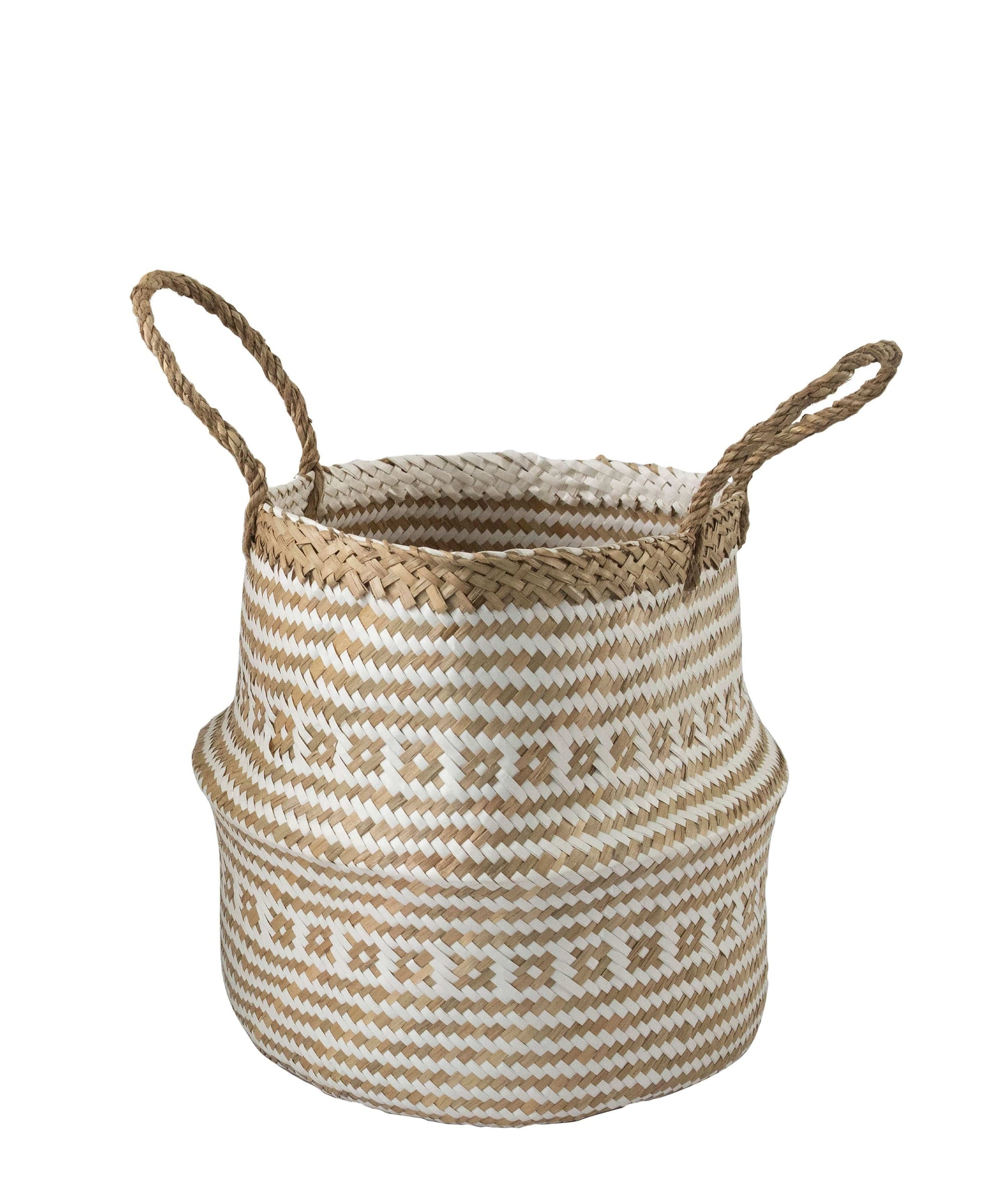 Made Terra Belly Baskets White Brocade Belly Basket with Handles | Woven Baskets for Laundry Storage & Home Supplies (Small)