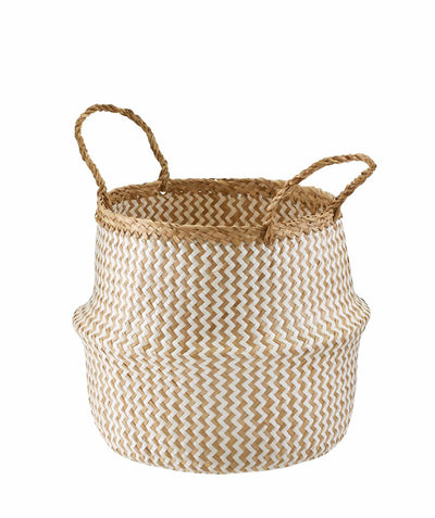Made Terra Belly Baskets White Zigzag Belly Basket with Handles | Woven Baskets for Laundry Storage & Home Supplies (Small)
