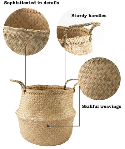 Made Terra Belly Baskets Large Belly Baskets with Handles (Set 2)| Woven Baskets for Laundry Storage & Home Supplies
