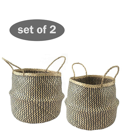 Made Terra Belly Baskets Black Zigzag Large Belly Baskets with Handles (Set 2)| Woven Baskets for Laundry Storage & Home Supplies