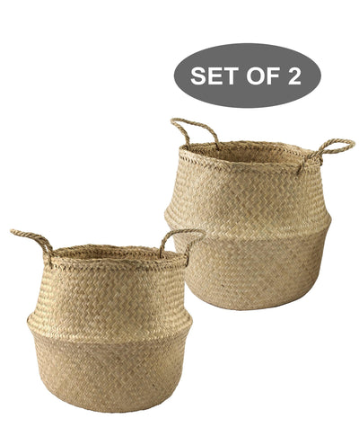 Made Terra Belly Baskets Natural Large Belly Baskets with Handles (Set 2)| Woven Baskets for Laundry Storage & Home Supplies