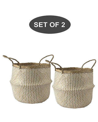 Made Terra Belly Baskets White Zigzag Large Belly Baskets with Handles (Set 2)| Woven Baskets for Laundry Storage & Home Supplies