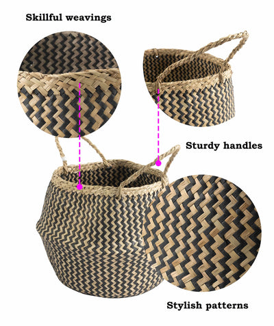 Made Terra Belly Baskets Small Belly Basket with Handles (Set 2) | Woven Baskets for Laundry Storage & Home Supplies