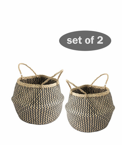 Made Terra Belly Baskets Black Zigzag Small Belly Basket with Handles (Set 2) | Woven Baskets for Laundry Storage & Home Supplies