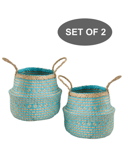 Made Terra Belly Baskets Cyan Brocade Small Belly Basket with Handles (Set 2) | Woven Baskets for Laundry Storage & Home Supplies