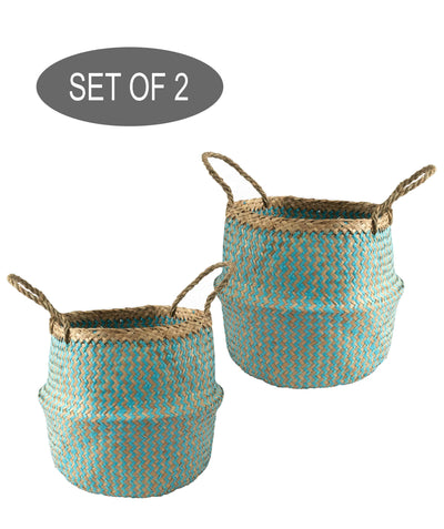 Made Terra Belly Baskets Cyan Zigzag Small Belly Basket with Handles (Set 2) | Woven Baskets for Laundry Storage & Home Supplies