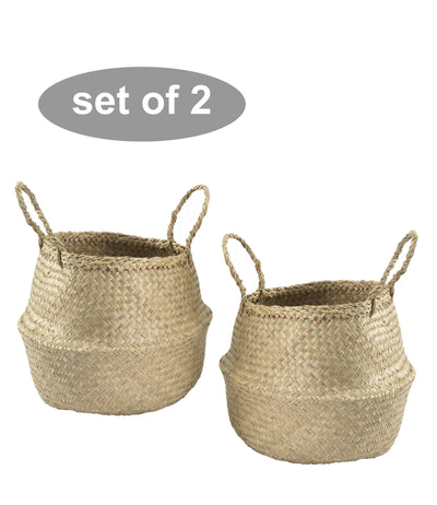 Made Terra Belly Baskets Natural Small Belly Basket with Handles (Set 2) | Woven Baskets for Laundry Storage & Home Supplies