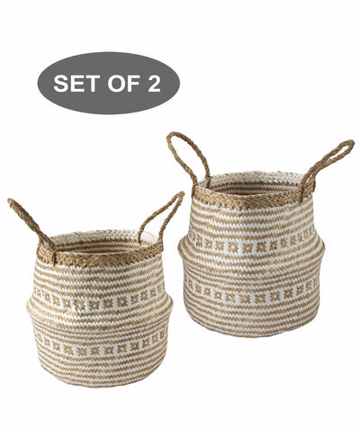 Made Terra Belly Baskets White Brocade Small Belly Basket with Handles (Set 2) | Woven Baskets for Laundry Storage & Home Supplies