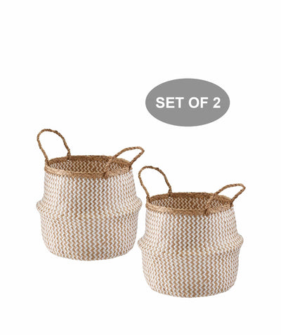 Made Terra Belly Baskets White Zigzag Small Belly Basket with Handles (Set 2) | Woven Baskets for Laundry Storage & Home Supplies
