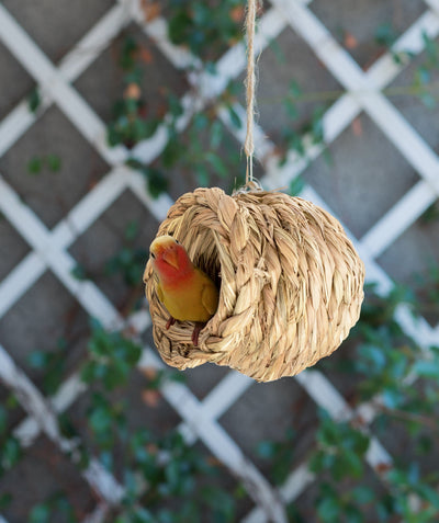 Made Terra Bird Nest Woven Bird Nest Cage (Oval Shape) | Natural Grass Hideaway Bird Hut, Safe For All Birds