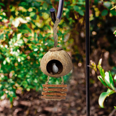Made Terra Bird Toy Coconut Bird Nest Cage w Ladder & Mat | Hanging Breeding Nest for Bird