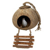 Made Terra Bird Toy Single Cage Coconut Bird Nest Cage w Ladder & Mat | Hanging Breeding Nest for Bird