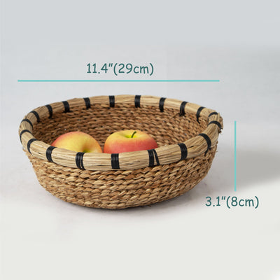 Made Terra Bowl Seagrass Woven Fruit Basket Bowls (Set 2) | Handmade Wicker Decorative Bread Fruit Snack Food Storage Bowl | Chic Rustic Boho Tabletop Countertop Dining Table Kitchen Decor