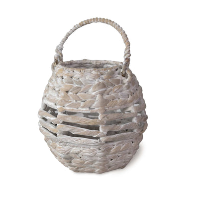 Made Terra Candle Holder Whitewash Wicker Candle Holder Lantern with Handle | Indoor Rustic Decorative Candelabra Candle Light Holder