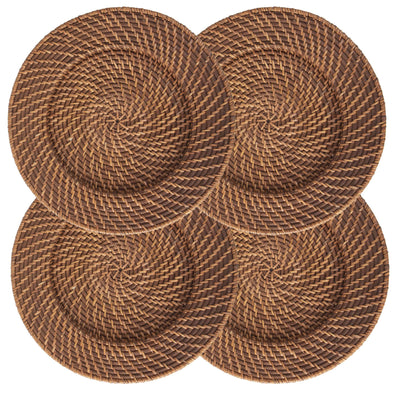 Made Terra Charger Plate Round Wicker Charger Set | Woven Rustic Dinnerware Tableware for Dinner, Party, Wedding