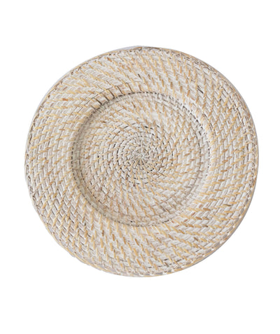 Made Terra Charger Plate White Wash Round Wicker Chargers | Woven Rustic Dinnerware Tableware for Dinner, Party, Wedding