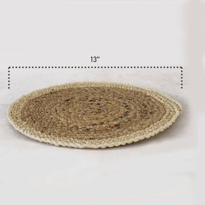 Made Terra Charger Plate Set of 4 Pack Woven Placemats for Dining Table | Handmade Natural Water Hyacinth Wicker Braided Placemat for Dinner, Party