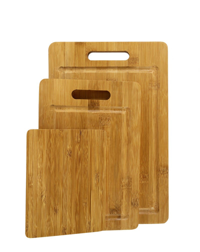 Made Terra Chopping board Set 3 Sizes Bamboo Cutting Boards | Anti-Bacterial Wood Chopping Boards for Food Preparation and Display