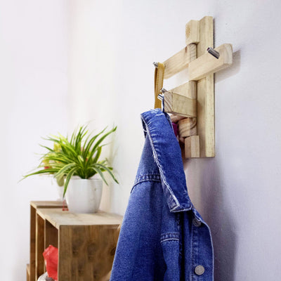 Made Terra Clothes Rack Wooden Coat Rack | Wall Mounted 5 Hanging Branches with Coat Hooks
