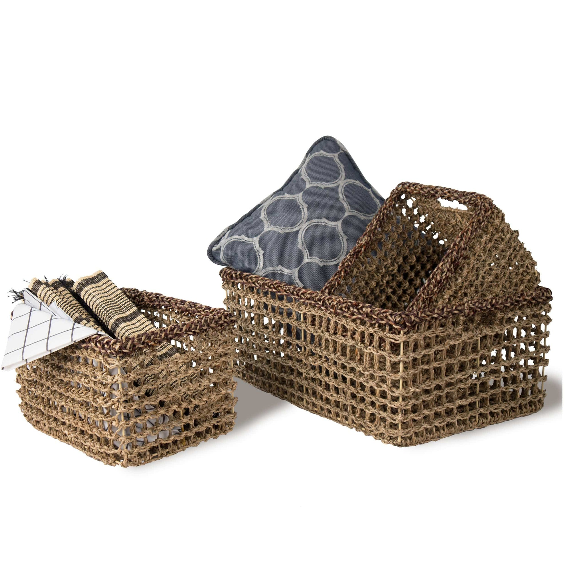 Made Terra Decorative Basket MadeTerra Set of 3 Rectangular Nesting Wicker Woven Storage Basket Bins, Decorative Organiser Baskets for Living Room, Bathroom, Closet and Bath Beauty Product Organizer
