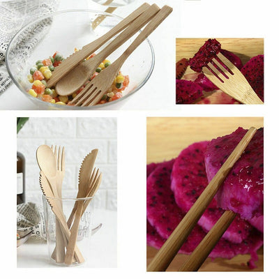 Made Terra Dining Set 6 Piece Bamboo Cutlery Set | Reusable Portable Eco-Friendly Eating Dining Utensils Set