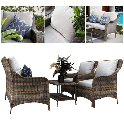 Made Terra Furniture Outdoor Wicker Sofa Set | Rustic Rattan Patio Couches w Glass Top Table & Cushions