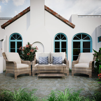 Made Terra Furniture Outdoor Wicker Sofa Set | Rustic Rattan Patio Sectional Couches w Glass Top Table & Cushions