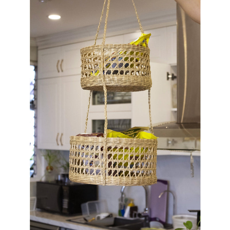 Made Terra hanging storage basket Round 2-Tier Woven Wall Hanging Baskets for Storage and Plant Pot Holder