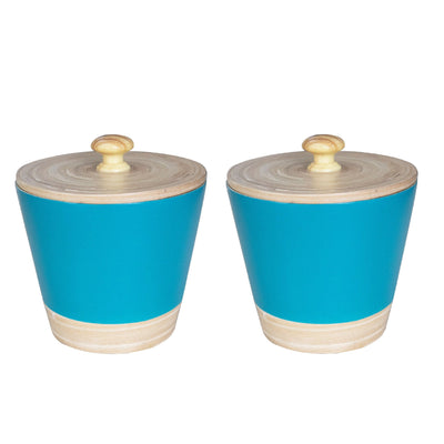 Made Terra Kitchen Canister Set 2- Blue Kitchen Canister Jars | Bamboo Kitchen Organizer Set