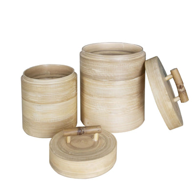 Made Terra Kitchen Canister Set 2- Natural Kitchen Canister Jars | Bamboo Kitchen Organizer Set
