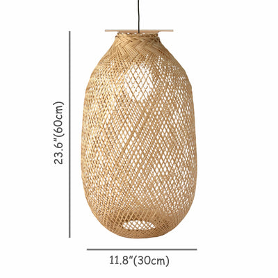 Made Terra Light Cover Large Bamboo Lamp Cage for Pendant Light | Bulb Guard Lamp Holder, Ceiling Fan Light Bulb Cover (Cage Only)